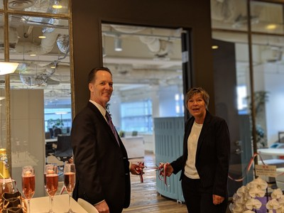 L-R James Jay, Senior Vice President & General Manager, Endpoint Solutions and Karen Harley, Vice President, Client Services, EU/APAC